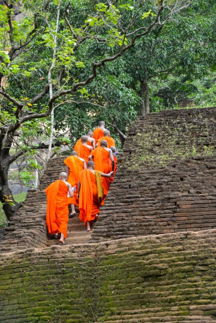 Monks making the climb